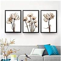 """透明な花壁画キャンバスポスターとプリントアート写真抽象的な壁の写真11.8"""" x17.7""""(30x45cm)x3フレームレス"""