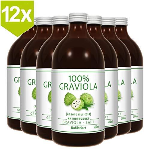12 x 100% SOURSOP / GRAVIOLA SAP (12 x 500ml) ongefilterd & veganistisch - Graviola/ Corossol/ Guanabana/ Zuurzakken
