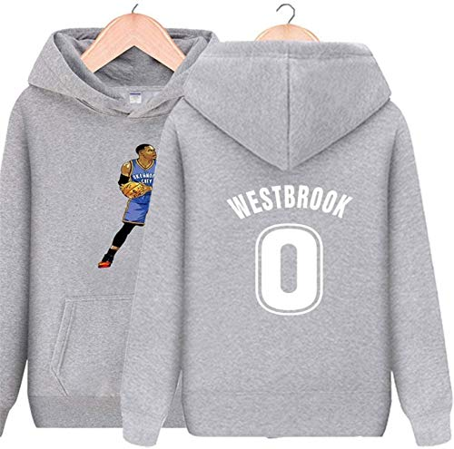 Sudadera con capucha NBA Unisex Houston Rockets Sudadera de baloncesto 0Russell Westbrook Camisa de manga larga Prime Pullover Fleece Hoodie con bolsillo de canguro (Color: Gris, Tamaño: XXL) - unisex