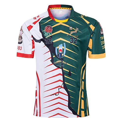 Camiseta De Rugby 2019 Copa del Mundo Campeón De Sudáfrica Edición Conjunta Camiseta De Rugby Deportes De Verano Camiseta De Fútbol Transpirable De Ocio Camiseta De M