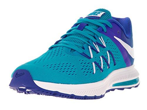 NIKE Women Air Zoom Winflo 3 Running Shoe - Black/Green Glow (6.5)