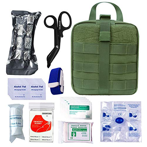 TOUROAM Trauma Medical Erste-Hilfe-Set Tactical IFAK Molle Survival Bag Militärkampf Tourniquet, israelische Bandage, Notfalltasche SOS-Tool-Kit