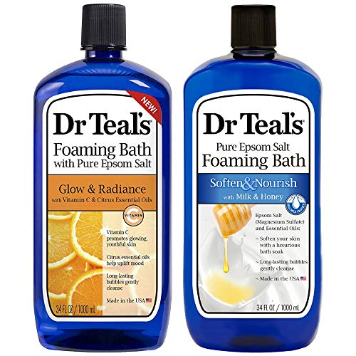 Dr Teal's Foaming Bath Combo Pack (68 fl oz Total), Soften & Nourish with Milk & Honey, and Glow & Radiance with Vitamin C and Citrus Essential Oils