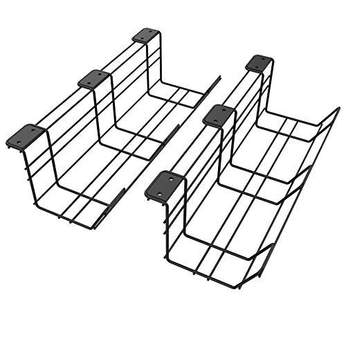 Stilemo Kabelkanal Schreibtisch für einen ordentlichen Arbeitsplatz - Kabelmanagement Schreibtisch 38 cm - 2er Set (schwarz)
