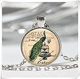Elf House Collar, pájaros de pavo real, colgante artístico, joyería de cristal, hecho a mano