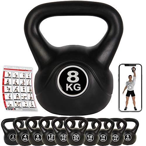 POWRX - Kettlebell 8 kg + PDF Workout (Nero)
