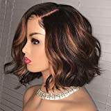 Ten Chopsticks 1B/30 Ombre Short Bob Wavy Human Hair Lace Front Wigs HD Invisible 13X6 Lace Frontal Human Hair Wigs Pre Plucked Bleached Knots Glueless Short Body Wave Wigs For Black Woman 12Inch