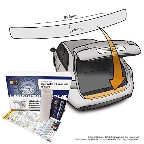 Passend für Opel Astra K Limousine (ab BJ 2015) - Passform Lackschutzfolie als Selbstklebender Ladekantenschutz (Autofolie und Schutzfolie) transparent 150µm