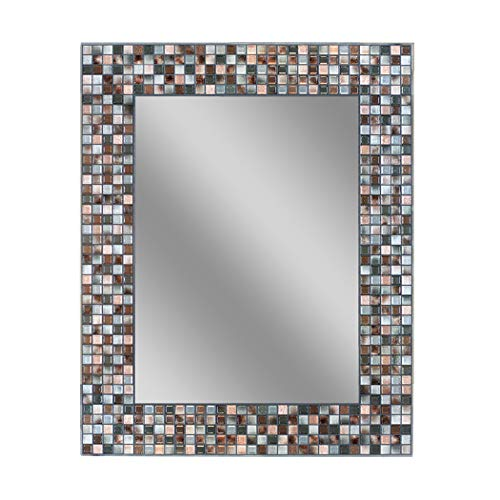 Headwest Earthtone Copper-Bronze Mosaic Tile Wall Mirror, 24 inches by 30 inches, 24' x 30'