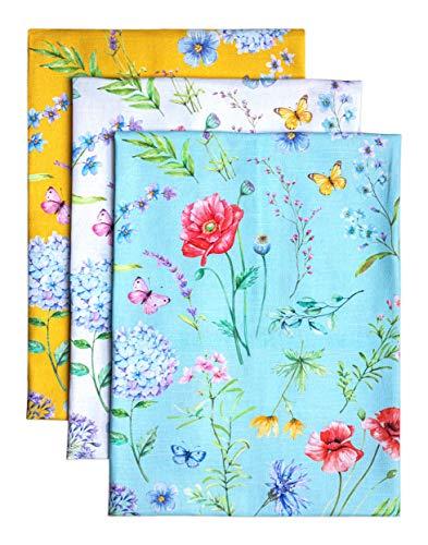 Maison d' Hermine Just Florals 100% Baumwolle Set von 3 Multi-Purpose Küchenhandtuch | Bar Handtücher | Frühling/Sommer (50 cm X 70 cm)