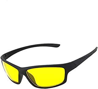 Wrath UV Protected Day and HD Night Vision Anti-Glare Square Unisex Sunglass for Car Drivers (NV123, Yellow)