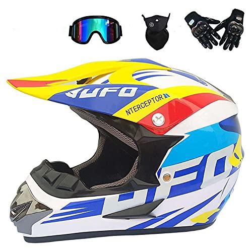 Junqin Casco de Motocicletas de la Cara Completa, Motocross Adult Motoccycle Helmet MX ATV Scooter, con Gafas Gloves Máscara, Certificación ECE (L)-white33||XL