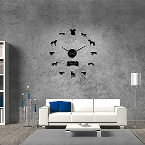 Galgo Bulldog Decoración de Pared DIY Reloj de Pared Grande Galgo Decoración del hogar Raza de Perro Reloj de Pared Exclusivo Regalo para Amantes de los Perros 37 Pulgadas