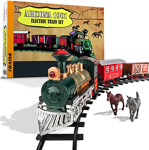 Atlasonix Train Set - Electric Train Toy for Children, Boys Girls w/ Lights & Sound, Railway Kits w/ Locomotive Engine, Cargo Cars & Tracks, Battery Operated for 3 4 5 6 7 8+ Year Old Kids