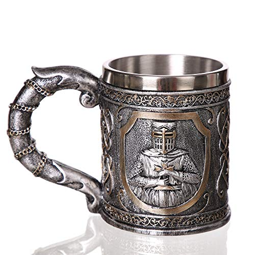 Noblik Mittel Alterlicher Templer Kreuz Fahrer Ritter Becher Anzug des RüStungs Ritters des Kreuzes Bier Stein Krug Kaffee Tasse - Becher