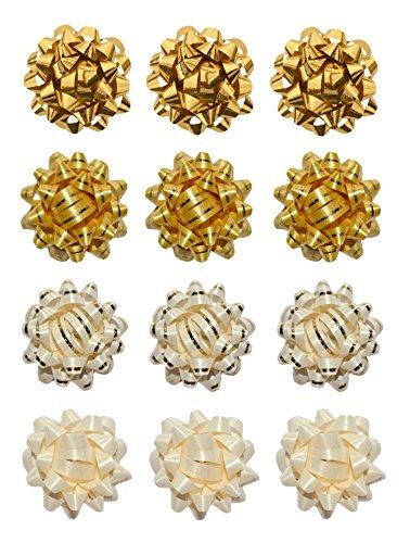 Helmecke & Hoffmann * 12er Set kleine Geschenk-Schleifen Geschenkrosetten Schleifenband Geschenkedekoration Ø ca. 3,5 cm (Set 3)