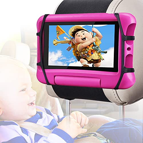 """Car Headrest Mount Holder for Tablet, WONNIE Tablets Holder for Kids in Car Back Seat, Universal Tablet Mount with Anti-Slip Strap& Silicone Holding Net/Fits All 7-10.5"""" Tablets"""