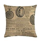 Nunubee Funda de Cojine Lino 45 x 45 Funda de Almohada Sofá Sala de Estar Dormitorio Cama Decorativos, Alfabeto inglés Vintage