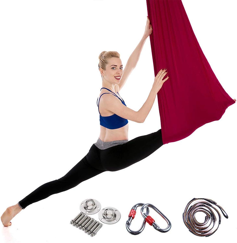 Aerial Yoga Hammock Set, Premium Aerial Silk Yoga Swing, (5 Meters Long, 2.8 Meters Wide) Elastic Pilates Yoga Swing Aerial Yoga Hammock  Includes mounting Accessories