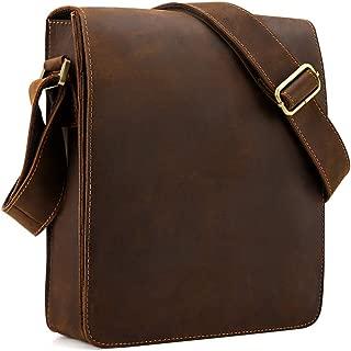 Vintage Cow Leather Flapover Messenger Bag Fit 10