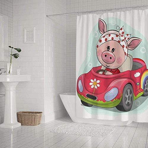 QAZX Badezimmer-Duschvorhang wasserdicht süßes Schwein Cartoon Hecht Schweinchen Polyester Mehrfarbig 180x180cm