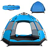 Pop Up Tent Instant Family Camping Tent Portable Automatic Easy Setup Waterproof Windproof Tent for Camping Hiking Outdoor Beach (Blue, Medium)