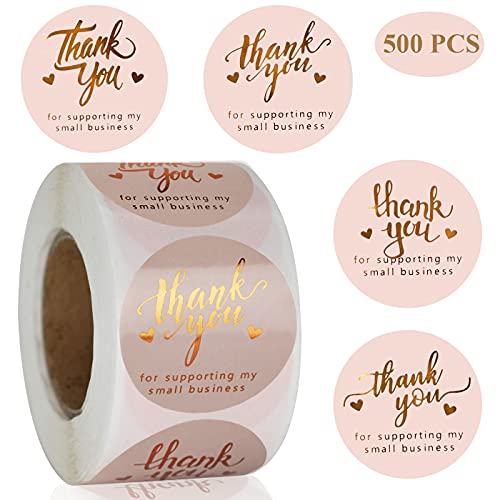 1.5'' Thank You for Supporting My Small Business Stickers 500 PCS 4 Design Font Pink Foil Thank You Stickers Rolls for Greeting Cards Flower Bouquets Self-Adhesive Labels for Gift Wraps