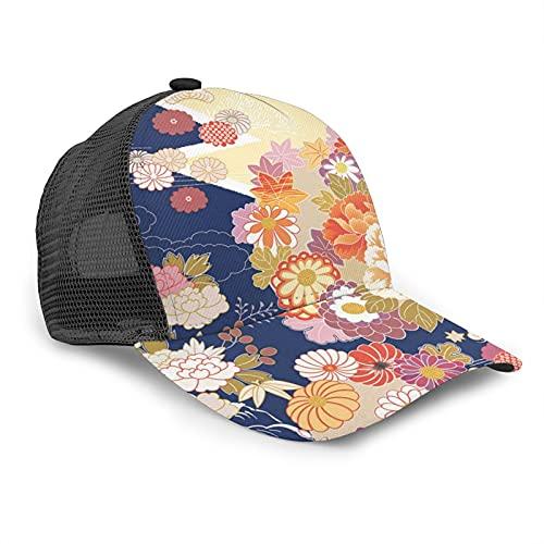 Gorra de béisbol japonesa tradicional kimono, gorra de béisbol con malla trasera, sombrero de camionero, protección solar, ajustable, unisex, adulto - - 7 1/8/7 1/2
