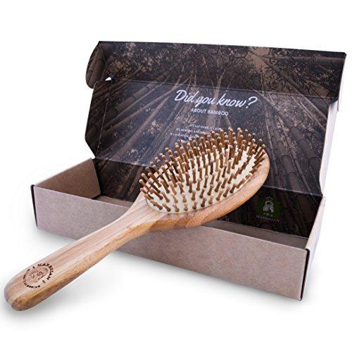 Bambushaarbürste in umweltfreundlicher Verpackung, natürliche Entwirrungsbürste für alle Haartypen, Bambusborsten massieren die Kopfhaut, jetzt bestellen!
