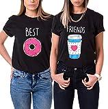 Beste Freunde T-Shirt Best Friends Modal Shirt für Zwei Mädchen Damen Kaffee und Donut Passende Kurzarm Tops mit Aufdruck (Schwarz-Best, S)
