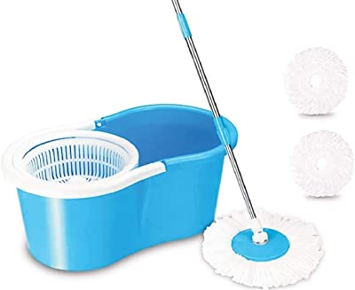 SHIVONIC Advance Home Cleaning 360° Spin Floor Cleaning Easy Advance Tech Bucket PVC Mop & Rotating Steel Pole Head with 2 Microfiber Refill Head Standard Color Blue