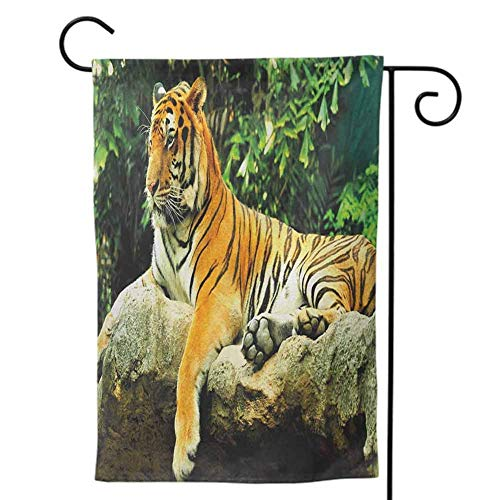 Garden Flags Double-Sided Polyester Outdoor Yard flag Mini for All Seasons and Tiger Resting Feline in the forest on a Large Rock Sublime Carnivore Beast Beautiful Nature Multicolor Decorative 12x18