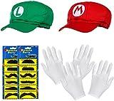 DOPPELPACK aus Super Mario Mütze + Luigi Mütze im Komplettset + weißen Handschuhen und...