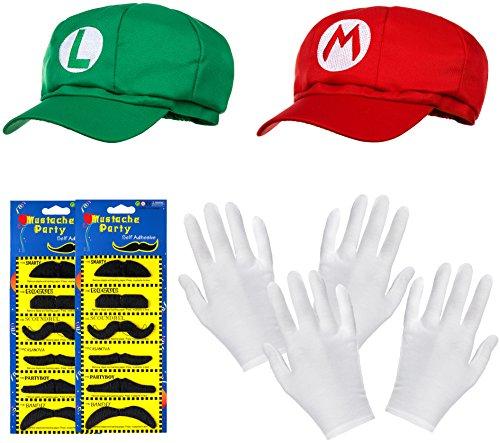 Pack doble de gorro de Super Mario + gorro Luigi en juego completo + guantes blancos y bigotes adhesivos para adultos y niños Carnaval disfraz, disfraz, gorra para hombre y mujer