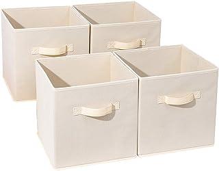 Everfunny Lot de 4 paniers de rangement pliables en tissu décoratif avec poignées pour la maison, le bureau, le placard