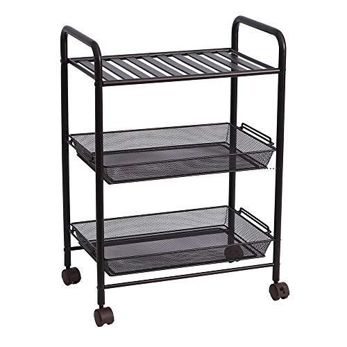 XIA 3 Tiers Aufbewahrungswagen Dienstwagen für Küchenpantry Badezimmer auf Rollen oder verstellbaren Füßen schwarz