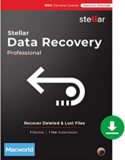 Stellar Data Recovery Software   for Mac   Professional   Recover Deleted Data, Photos, Videos from Mac   1 Device, 1 Yr Subscription   Instant Download (Email Delivery)