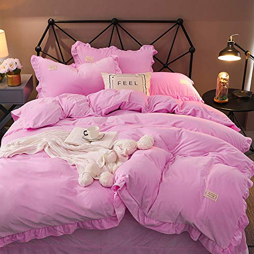 MNBVC Double Bedding Duvet Sets,Flannel and Coral Fleece Flannel Bed Linen Duvet Cover Sets Warm Winter Thickening Cotton
