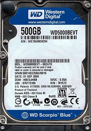 Western Digital WD5000BEVT DCM: hbcvjhbb wx70a 500GB