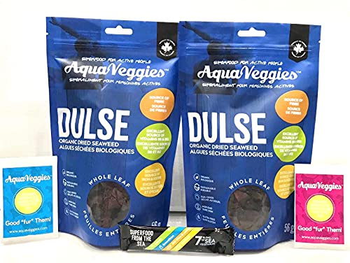 Aqua Veggies Organic Atlantic Whole Leaf Dulse Duo and Superfood Trial Pack 4 oz | (2 oz Pack x 2) Hand Harvested, Sun Dried Seaweed-Protein - Excellent source of Vitamins B6, B12, Fibre Iron, Iodine