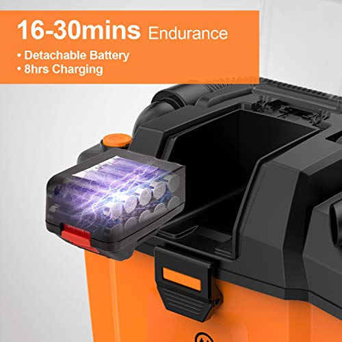 MOOSOO Shop Vacuum Wet and Dry, 2.7 Gallon 4 Peak HP Cordless Shop Vac with Blower Function, Powerful Suction Portable Shop Vacuum with Attachments, Ideal for Home, Garden, Garage, Car or Workshop