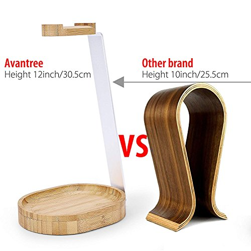 Avantree Universal Wooden & Aluminum Headphone Stand Hanger with Cable Holder, Sturdy Desk Headset Mount Rack for Sony…