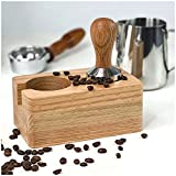 Generisch Tamperstation TÜV getestet | Massiv Holz Tamper Station Espresso & Tamper 51mm / 58mm | Siebträger Abklopfbehälter