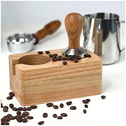 Tutto in uno e testato (TÜV) | Tamper Station espresso & Tamper 51 mm o Tamper 58 mm | Accessori Barista in scatola regalo in legno è il contenitore per portafiltro (53 mm)