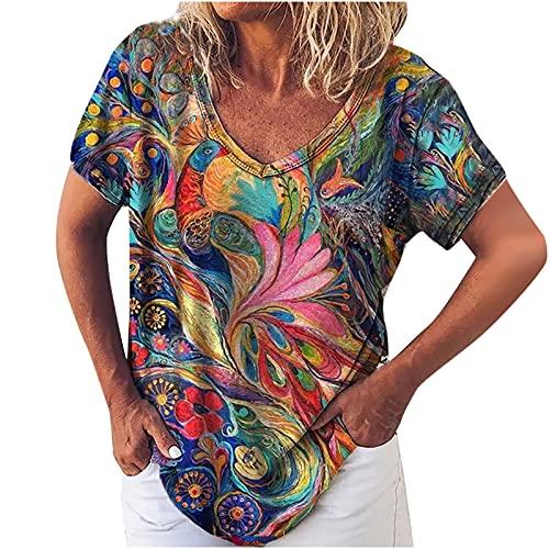 AMhomely Tops de verano para mujer, camiseta de manga con cuello en V para mujer, estampado floral, suelta, talla grande