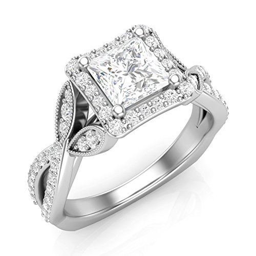 Amazon Com 14k White Gold Princess Cut Halo Engagement Ring Twist Shank Vintage Halo Ring Twisted Ring Cushion Square Halo Forever One Colorless Moissanite Center Ring For Her Handmade