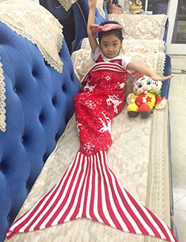 ManYanEur, sacco a pelo a forma di coda di sirena, coperta per bambini, lavorazione a maglia, coperta calda e soffice per tutte le stagioni
