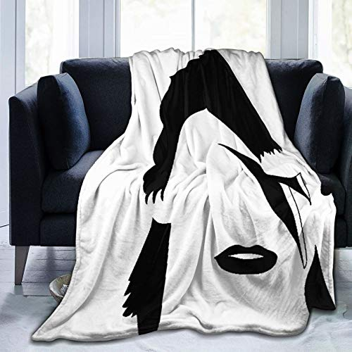Minalo Super Soft Throw Blanket,Glam Rock David Bowie British Songwriter Actor Graphic Black Brush Drawing Song,Warm Anti-Pilling Flannel Blankets for Couch Sofa Bedroom 60'x50'