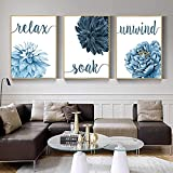 Eryan Cartel nórdico Wall Art Blue Flower Cita Relax Remow Witch Almero Moderno Lienzo Pintura de pintura para la sala de estar Decoración para el hogar (50X70CM) x3 Sin marco