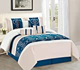 WPM 7 Pieces Complete Bedding Ensemble Turquoise Blue White Beige print Luxury Embroidery Comforter Set Bed-in-a-bag elegant Bedding (Quuen)